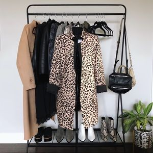 Leopard Longline Blazer Coat with Notched Lapels